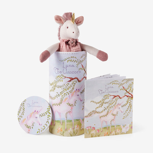 "10"" Luna Unicorn Baby Knit Toy & Book Set"