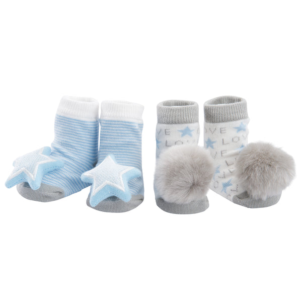 Blue Love Baby Rattle Socks 2 pk