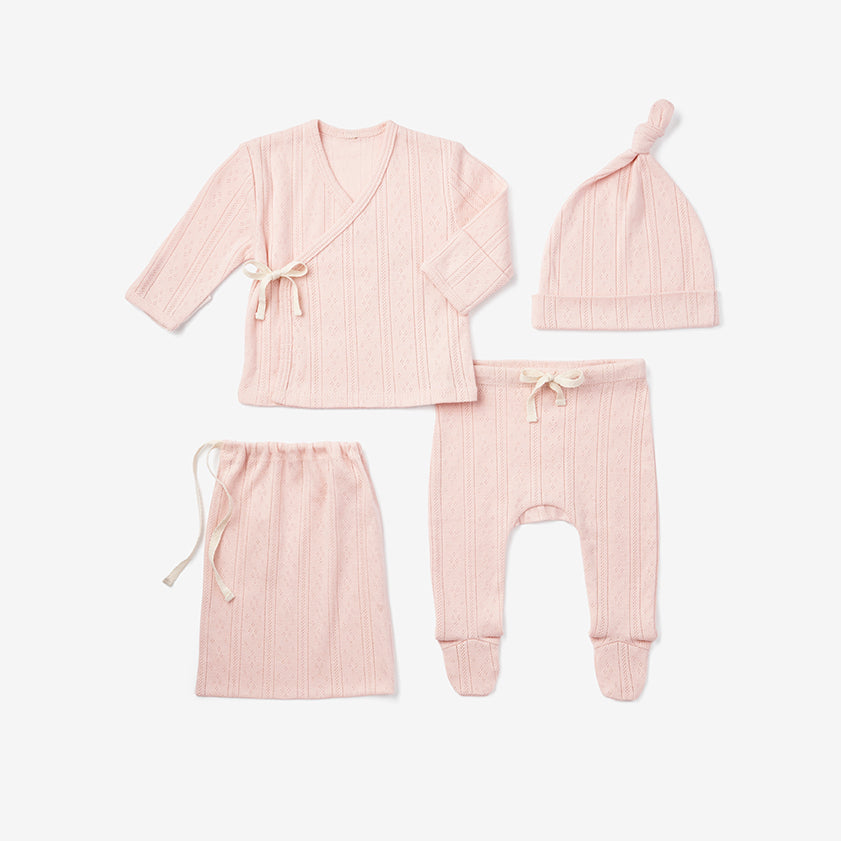 Pale Pink Pointelle Layette Gift Set