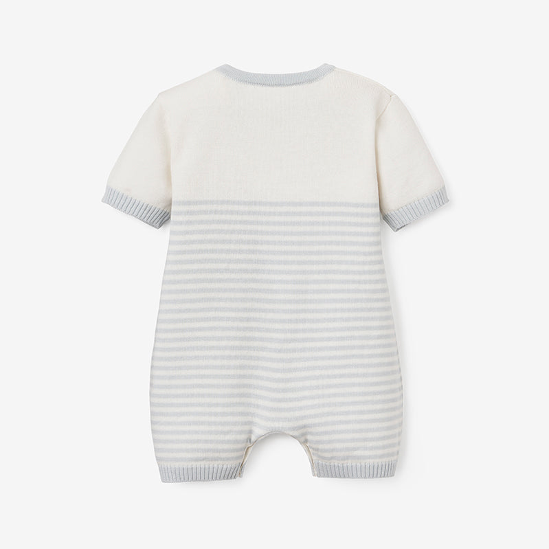 Cloud Blue Mini Stripe Shortall Baby Romper
