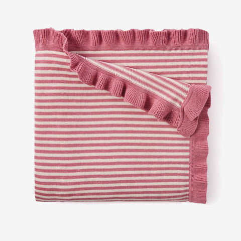 Mauve Stripe Cotton Knit Baby Blanket