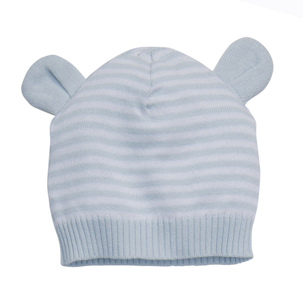 Blue Stripe Knit Hat with Ears