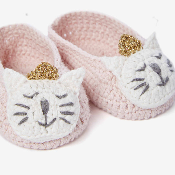 Princess Kitty Hand Crocheted Baby Booties