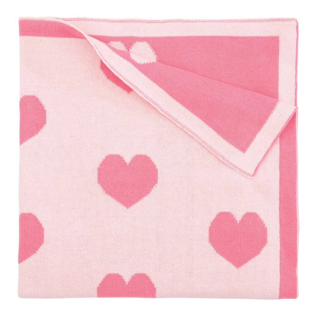 Reversible Pink Heart Knit Cotton Baby Blanket