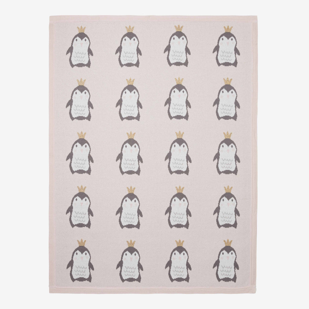 Princess Penguin Cotton Knit Baby Blanket