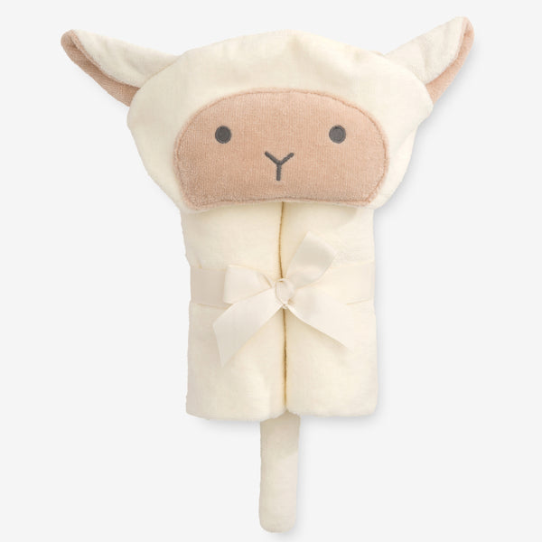 Cream Lambie Hooded Baby Bath Wrap