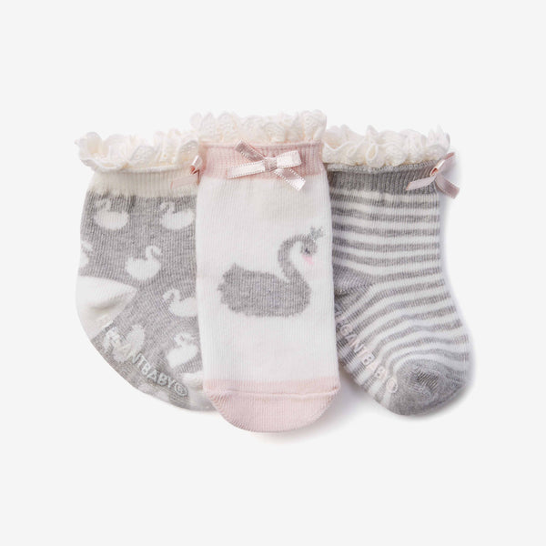 Swan Cotton Baby Socks 3pk