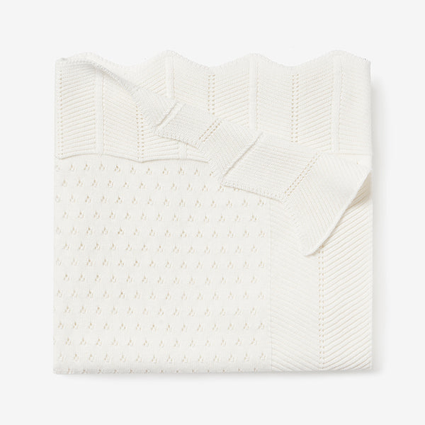 Cream Pointelle Cotton Knit Baby Blanket