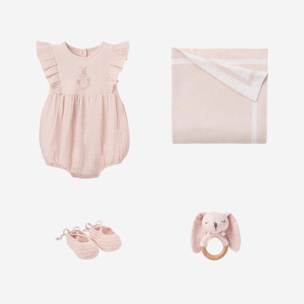 Warm Blush Muslin Bubble Baby Gift Set