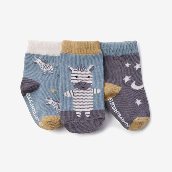 Zebra Cotton Baby Socks 3pk