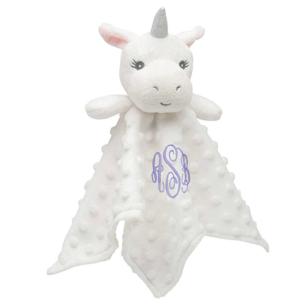 Minky Dot White Unicorn Baby Security Blanket