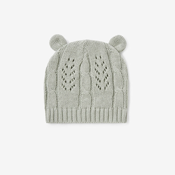 Sage Leaf Knit Baby Hat with Ears