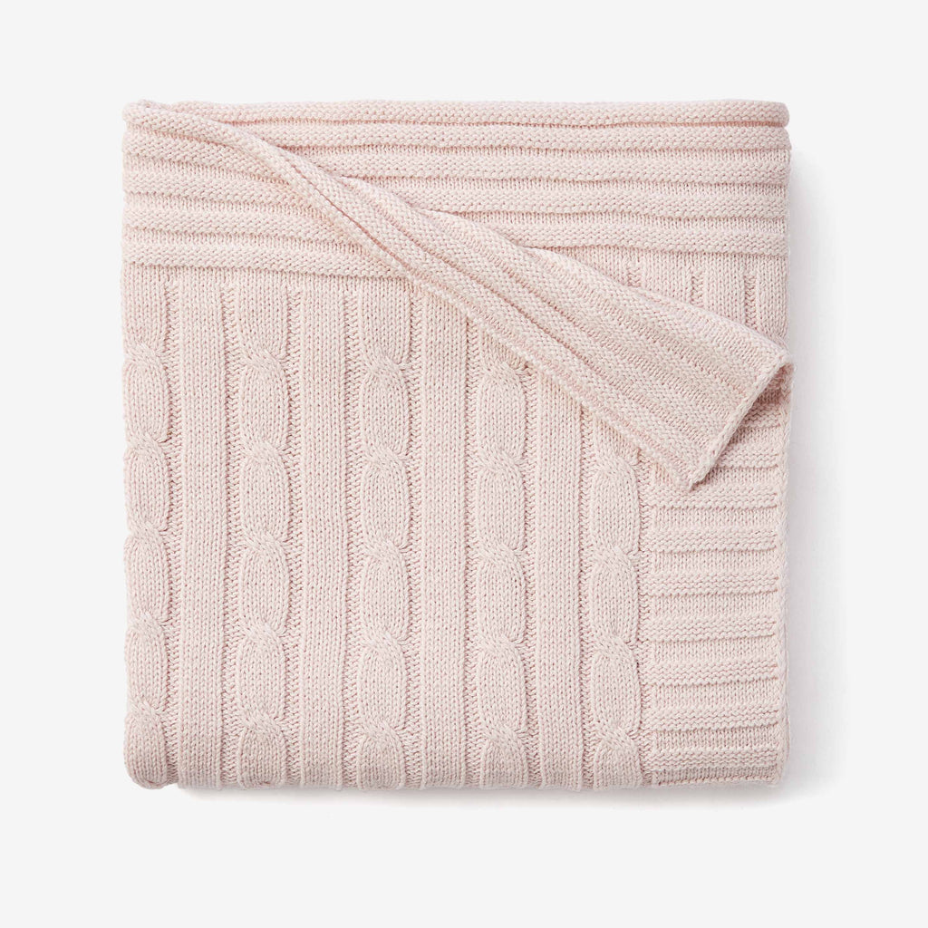 Chalk Pink Cable Knit Cotton Baby Blanket Elegant Baby
