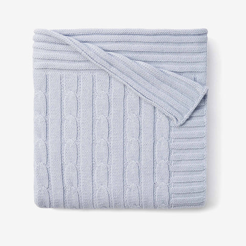 Pale Blue Cable Knit Cotton Baby Blanket
