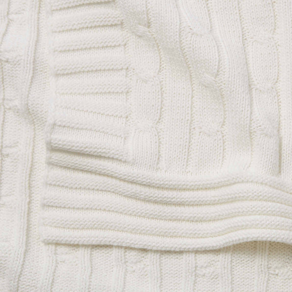 Cream Cable Knit Cotton Baby Blanket