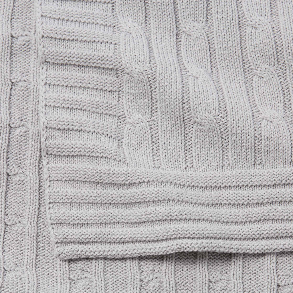 Gray Cable Knit Cotton Baby Blanket Elegant Baby