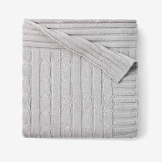 Gray Cable Knit Cotton Baby Blanket