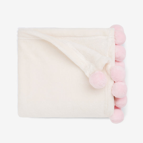 Pink Pom Trim Fleece Baby Stroller Blanket