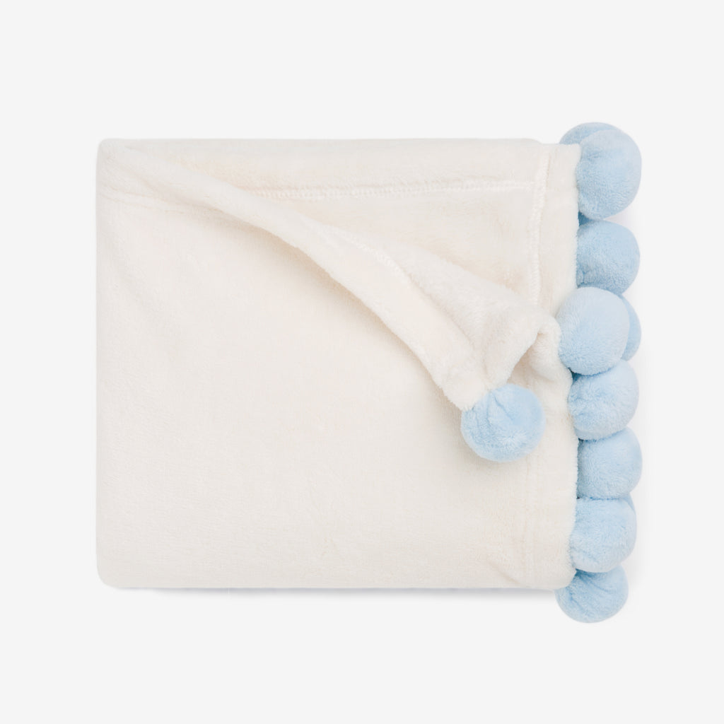 Blue Pom Trim Fleece Baby Stroller Blanket