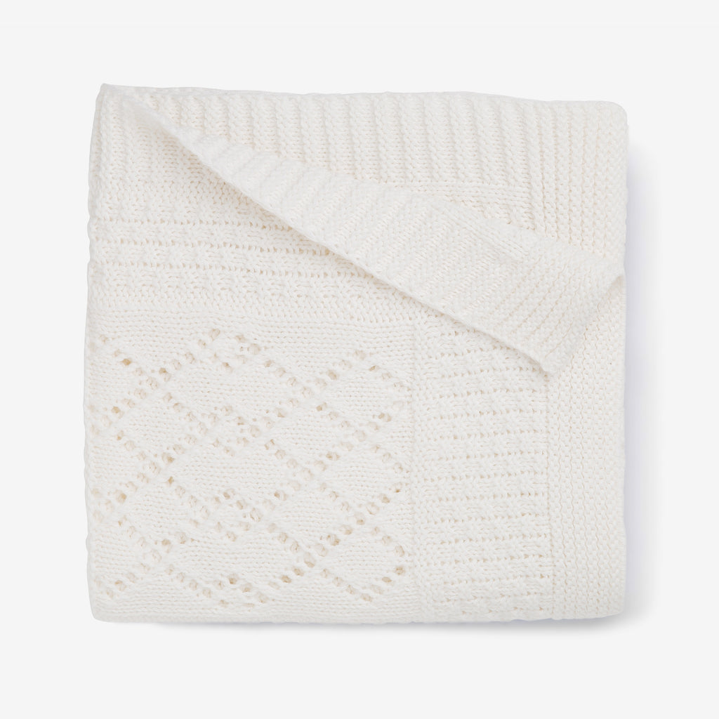 White Seed Knit Cotton Baby Blanket