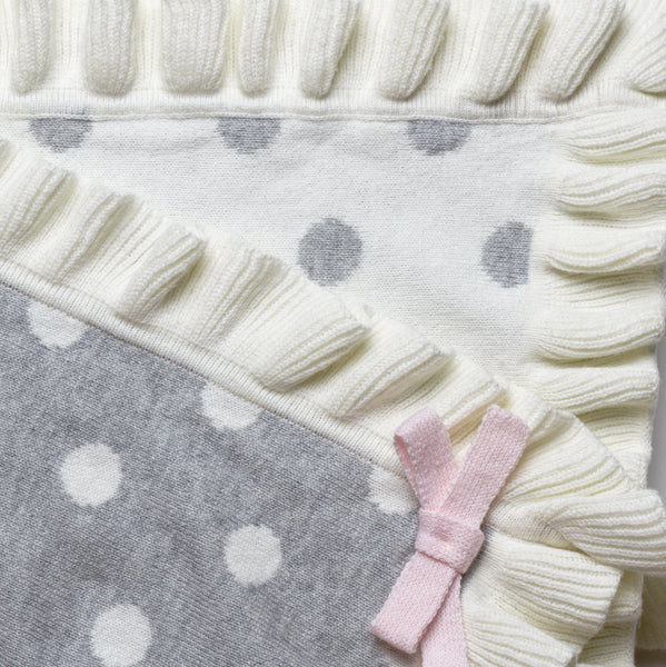 Gray Polka Dot Ruffle Cotton Baby Blanket