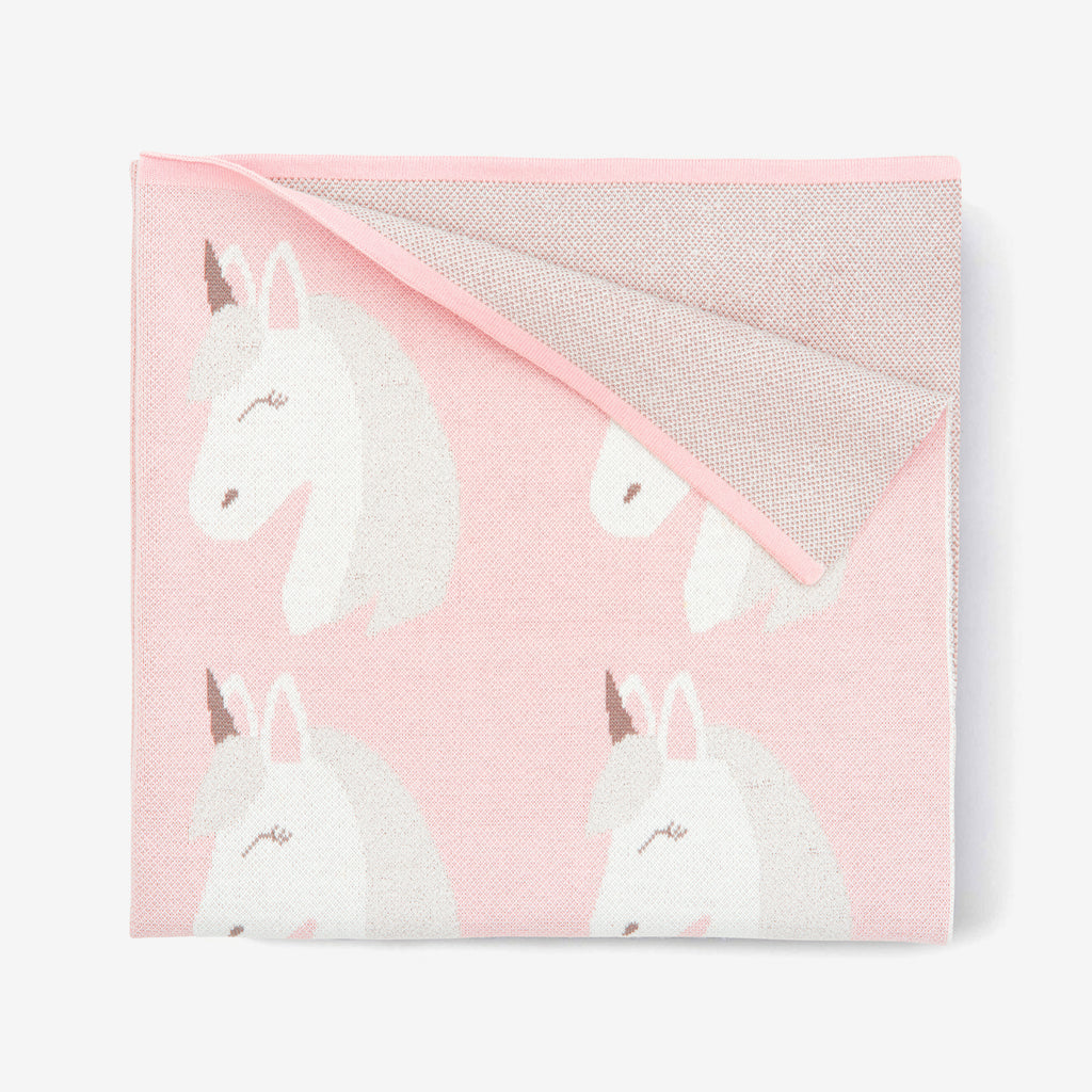 Pink Unicorn Cotton Knit Baby Blanket