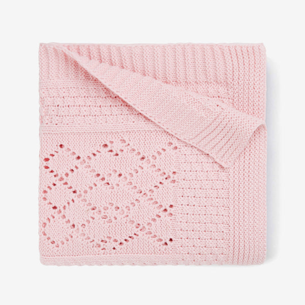 Pink Seed Knit Cotton Baby Blanket