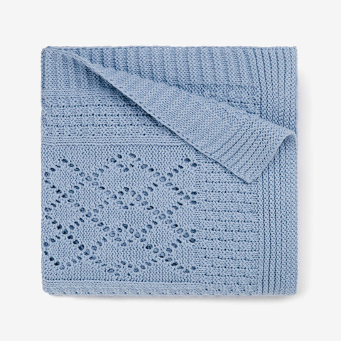 Blue Seed Knit Cotton Baby Blanket