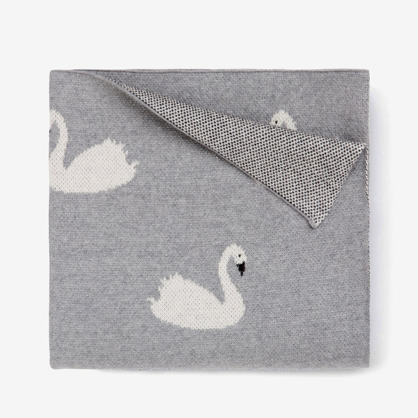 Dark Gray Swan Organic Cotton Knit Baby Blanket