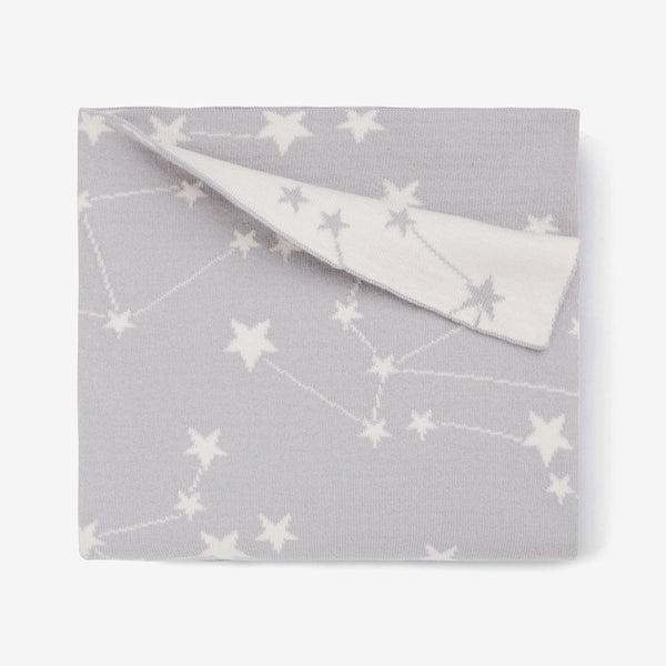 Gray Constellation Organic Cotton Knit Baby Blanket
