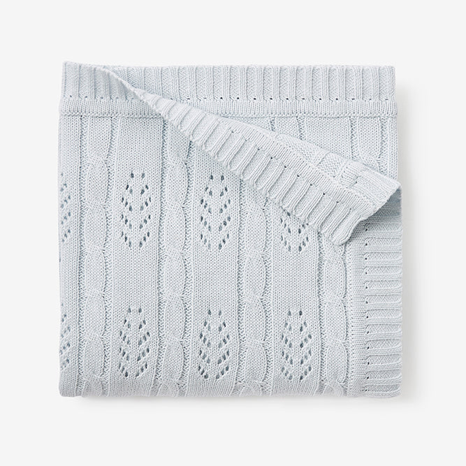 Pale Blue Leaf Knit Baby Gift Set