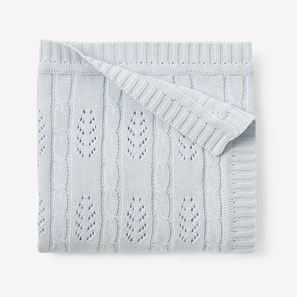 Pale Blue Leaf Knit Baby Blanket