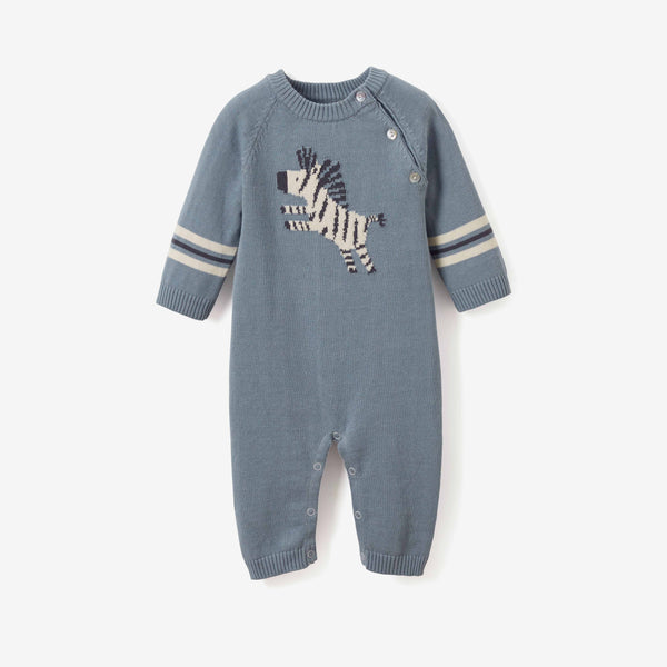 Zebra Cotton Knit Baby Jumpsuit