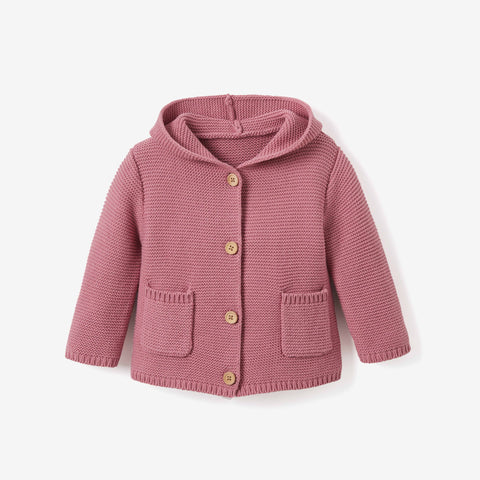 Mauve Hooded Tassel Knit Baby Sweater