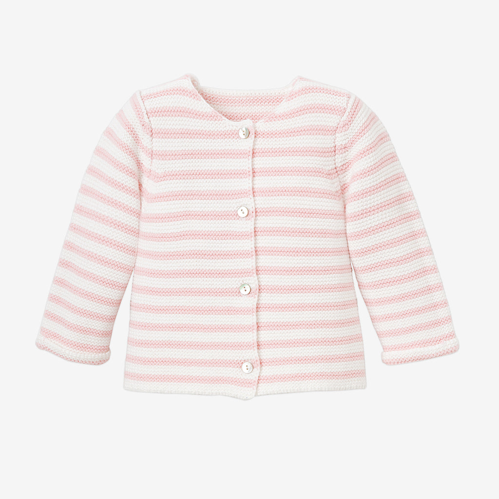 Petit Paris Pink Stripe Knit Baby Cardigan