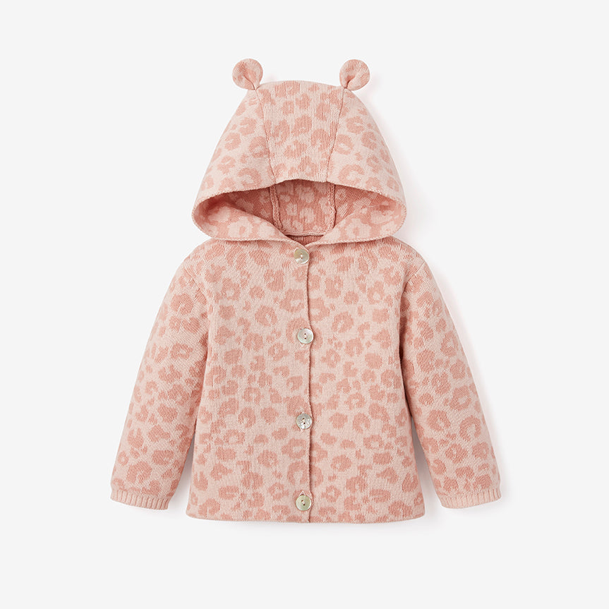 Pink Leopard Hooded Cardigan Baby Gift Set