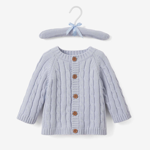 Pale Blue Cable Knit Baby Gift Set 3pc