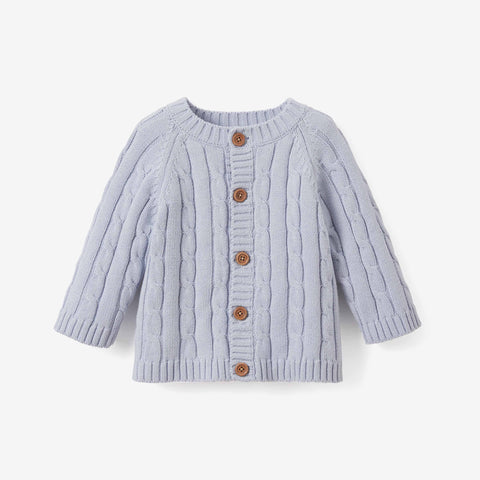 Pale Blue Cotton Cable Knit Baby Sweater