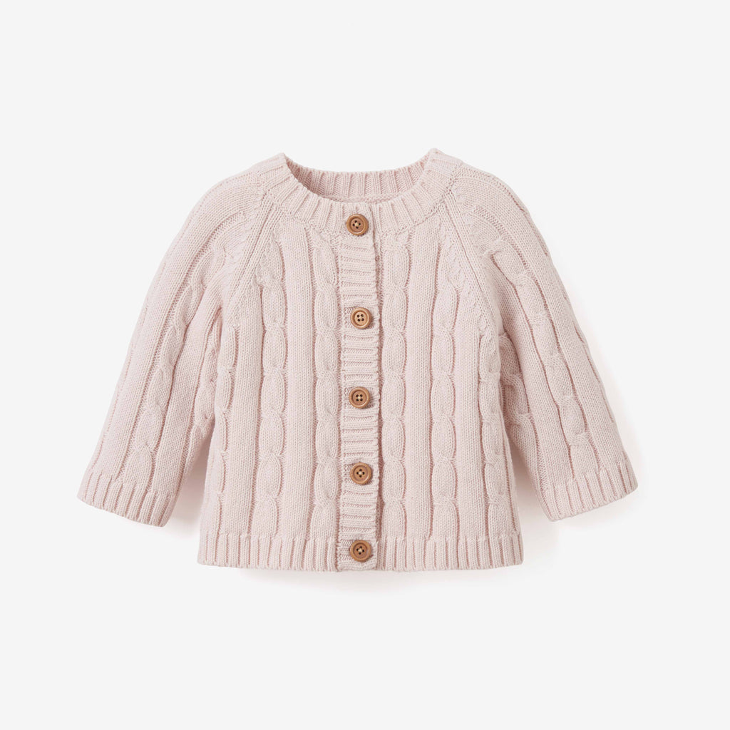 Chalk Pink Cotton Cable Knit Baby Sweater