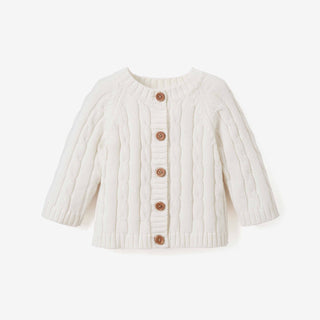 Cream Cotton Cable Knit Baby Sweater