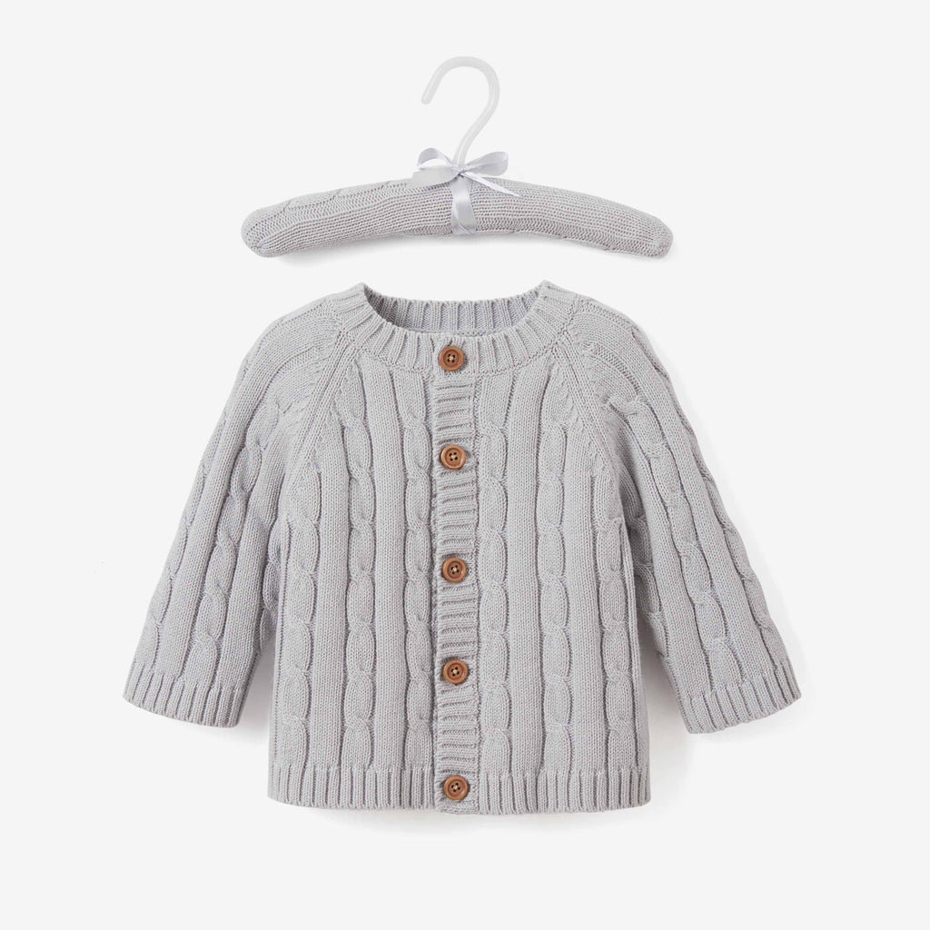 Gray Cotton Cable Knit Baby Sweater