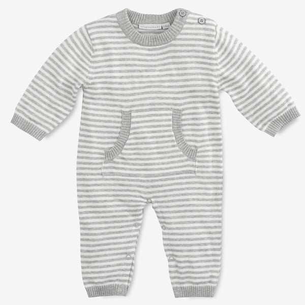 Gray Stripe Knit Baby Jumpsuit
