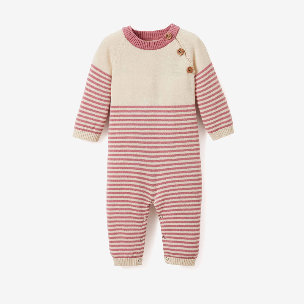 Mauve Stripe Jumpsuit Baby Gift Set