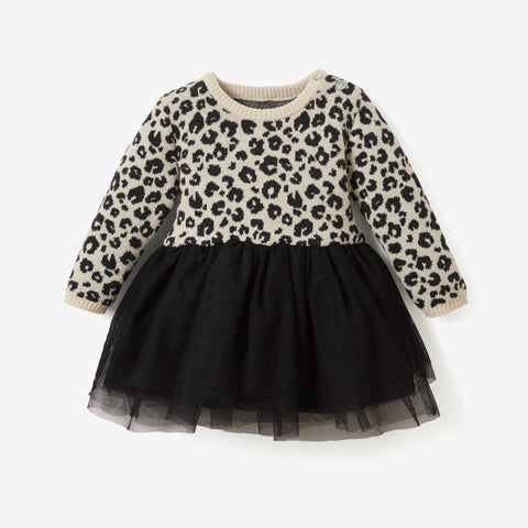 Leopard Print Knit & Tulle Baby Dress