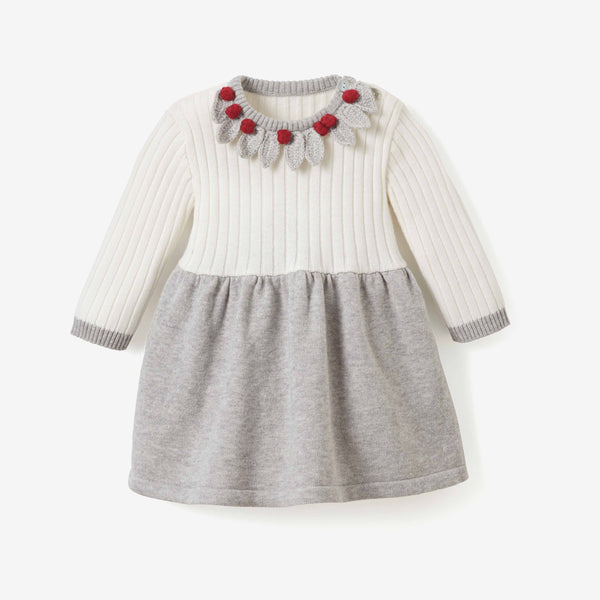 Holiday Crochet Collar Knit Baby Dress