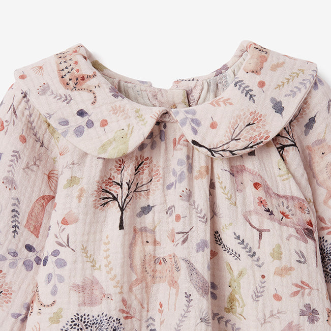Floral Organic Muslin Peter Pan Collar Dress w/ Bloomer