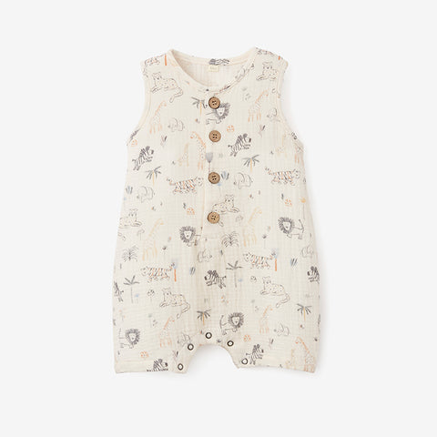 Safari Print Organic Muslin Button Down Shortall