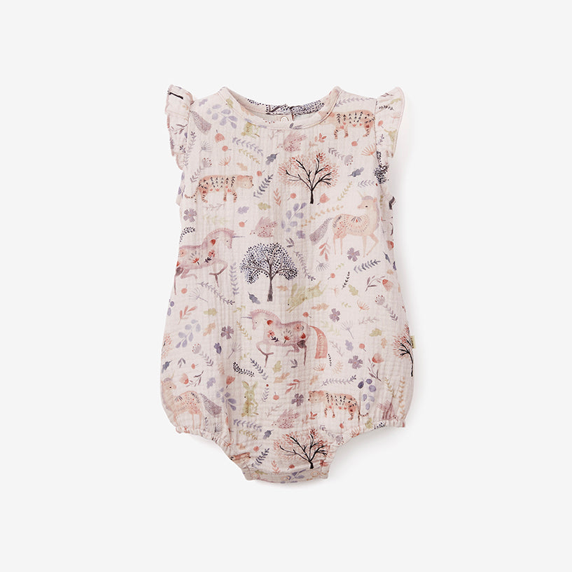 Floral Print Organic Muslin Bubble Baby Romper