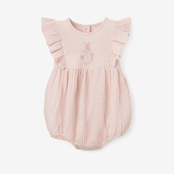 Warm Blush Organic Muslin Baby Bubble Romper