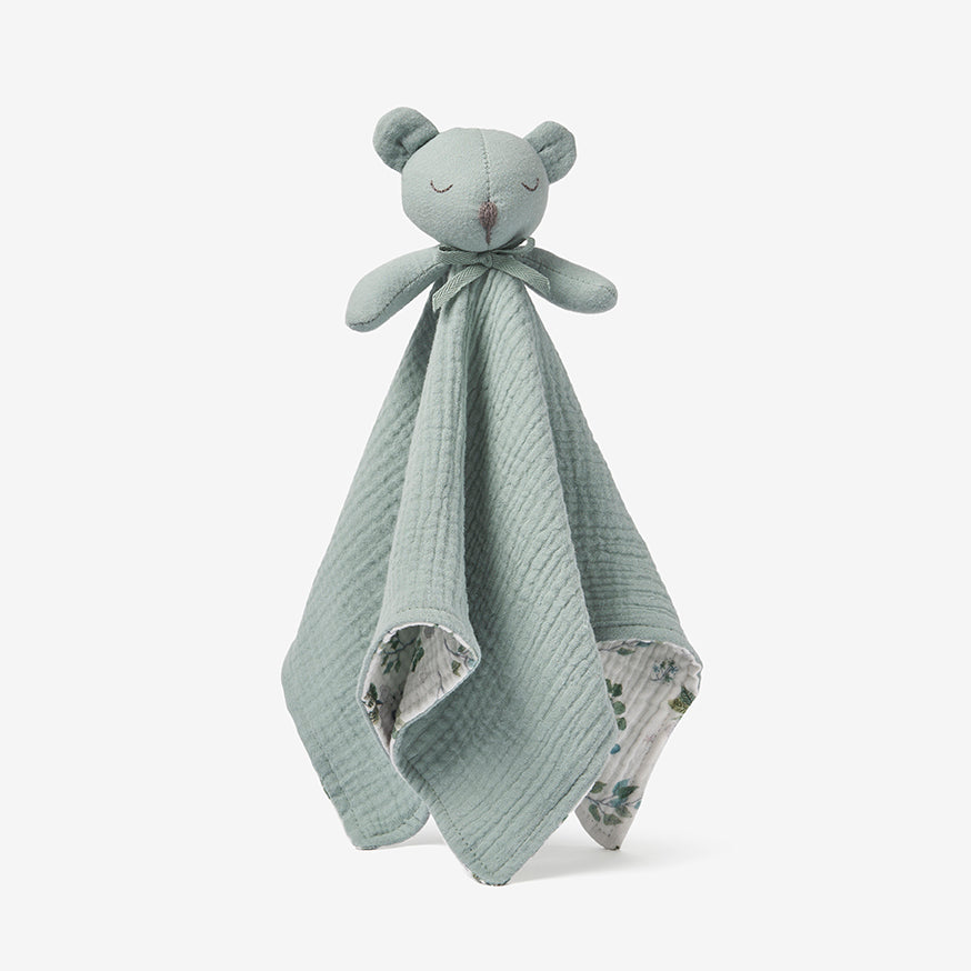Light Sage Bear Organic Baby Security Blanket